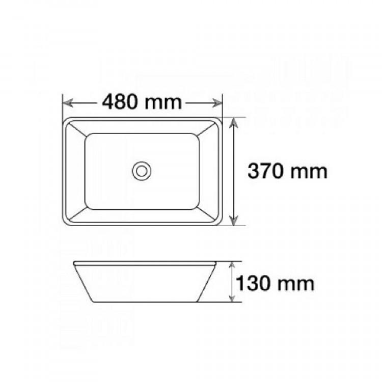 Умывальник прямоугольный закругленные углы 480х370х130 MELANA