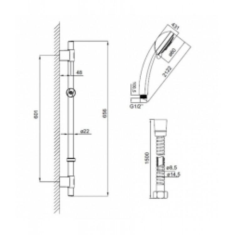 Душевой гарнитур IDDIS стойка 656, лейка 3F, шланг 1,5 м