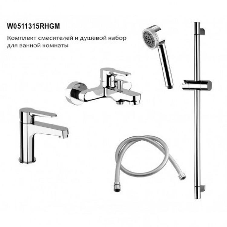 Комлект смесителей для ванной комнаты с душевым гарнитуром REMER WINNER (W05+W11+315RHGM)