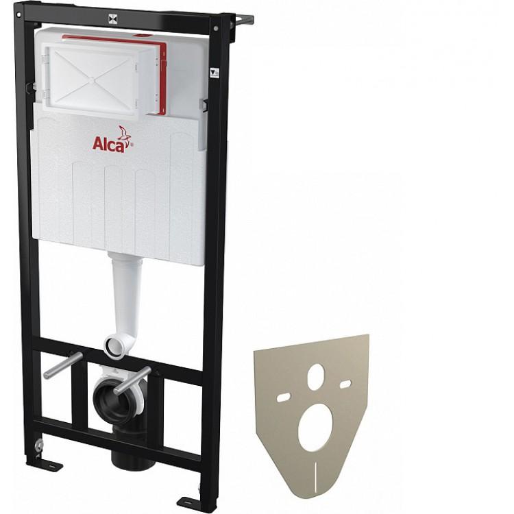 Набор 5в1: Унитаз Престиж подвесной ЧЕРНЫЙ с инсталляцией Alcaplast