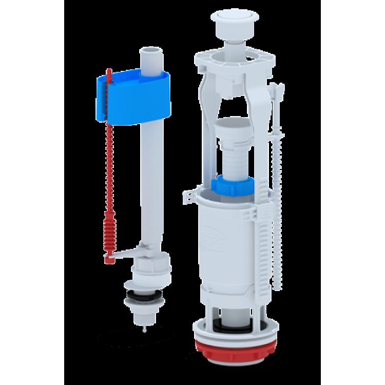 Набор с нижней подводкой 1/2', с пластиковым штуцером кнопка белая эконом WC6550
