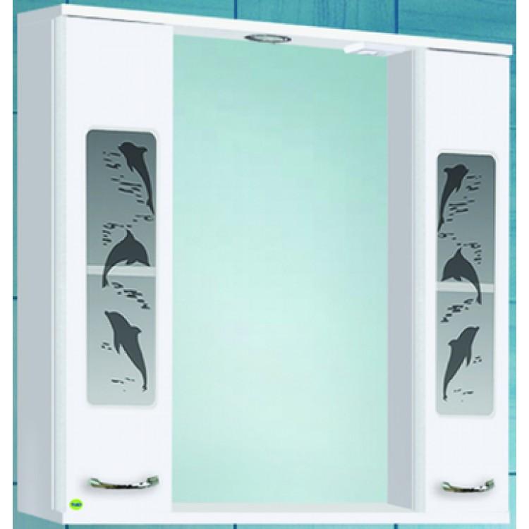 Шкаф зеркальный Дельфин-800 с подсветкой, белый