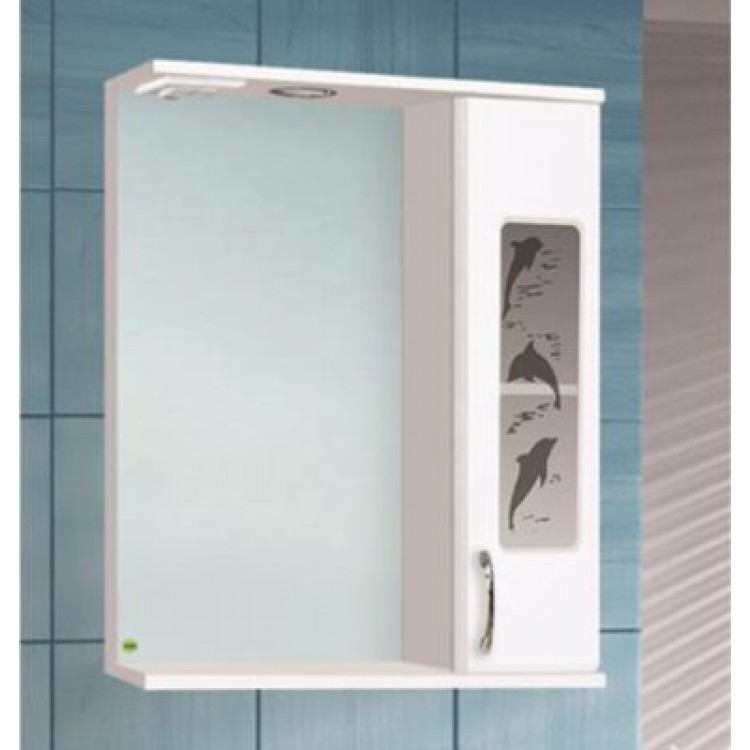 Шкаф зеркальный Панда-600 с подсветкой дельфин правый