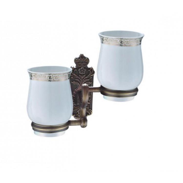 Стаканы керамические 2 шт с держателем бронза GAPPO