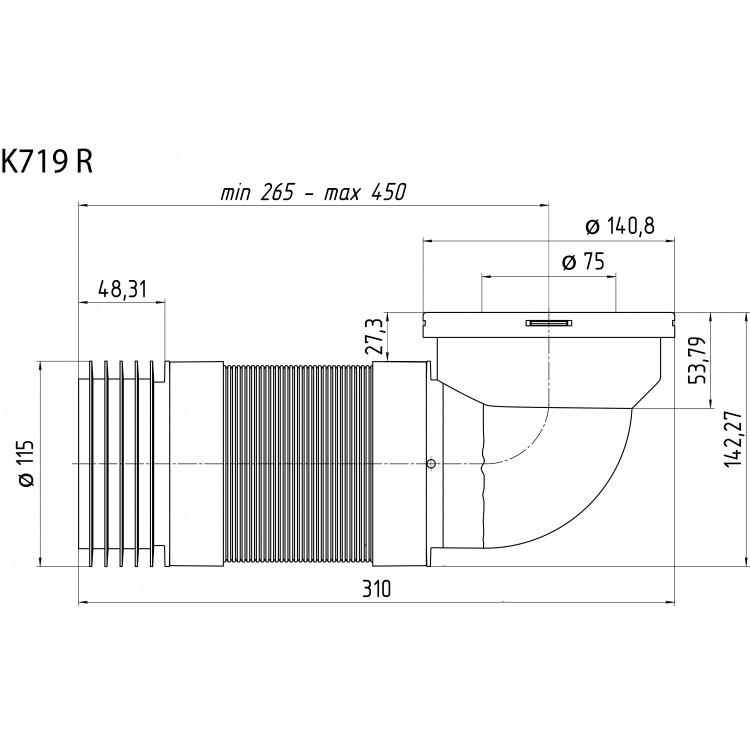 Удлинитель гибкий для унитаза угол 90° 265-450мм K719R