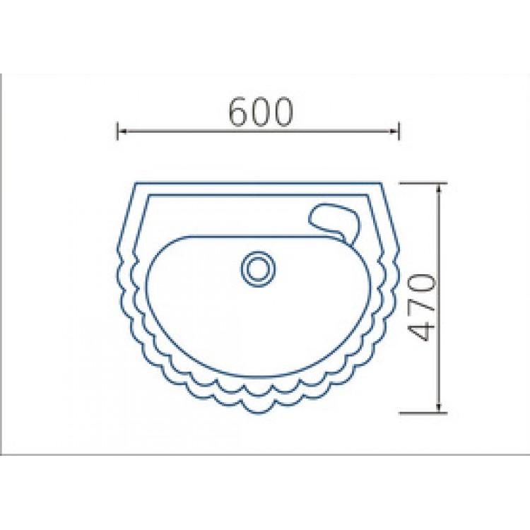 Умывальник Жемчужина 60 см, с отверстием